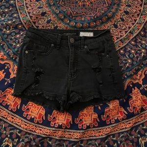 Black high waisted distressed jean shorts